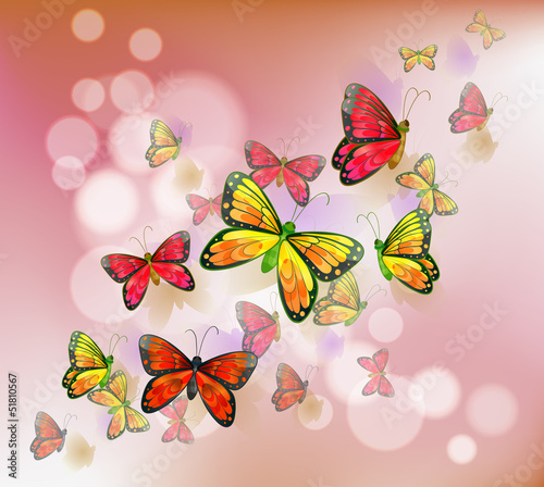 Deurstickers Vlinders A stationery with a group of butterflies
