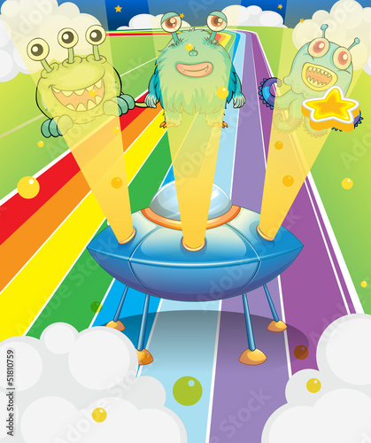 Poster de jardin Creatures A spaceship with three aliens