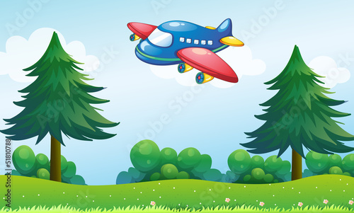 Papiers peints Avion, ballon A toy plane flying above the hill