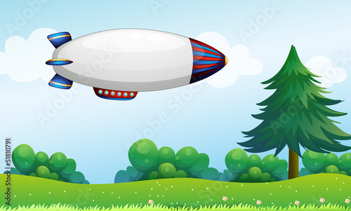 La pose en embrasure Avion, ballon An airship above the hills