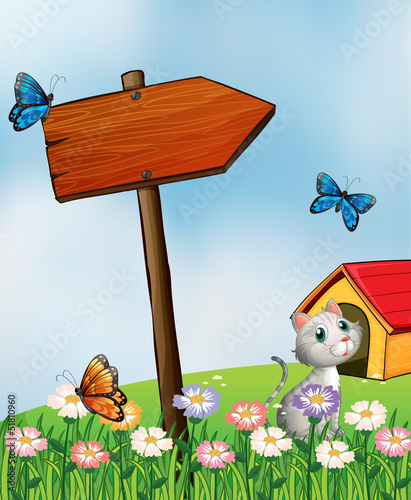 Poster Vlinders A garden with butterflies and a cat near an arrowboard