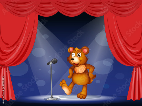 Wall Murals Bears A stage with a bear performing