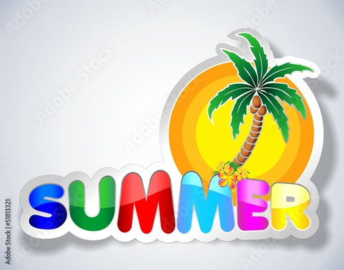 Fotobehang Draw Colorful Summer Sticker-Adesivo Estate con Palma