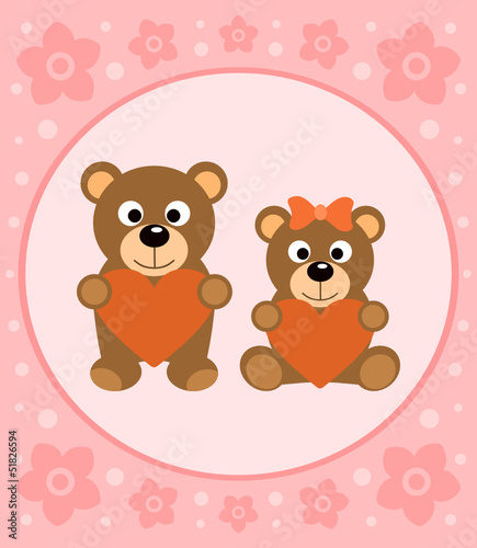 Wall Murals Bears Background card with funny bears cartoon