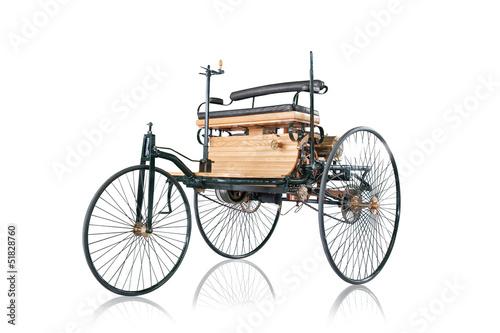 Photographie  Oldtimer erstes Auto der Welt Carl Benz Wagen Auto
