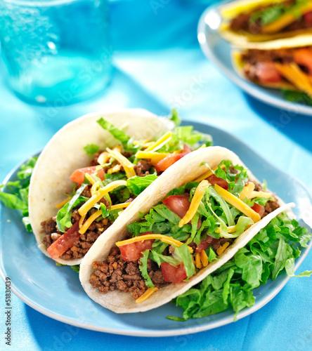 Fotografie, Obraz  Mexican food - Soft shell beef tacos