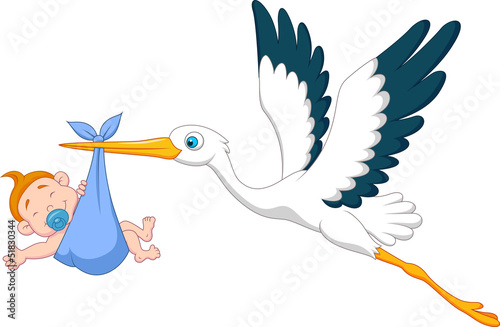 Stork with baby boy #51830344