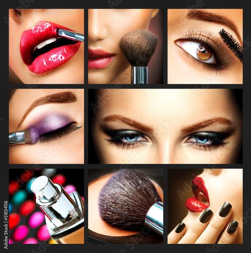 Fotografía  Makeup Collage. Professional Make-up Details. Makeover