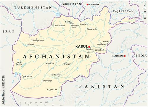 Foto op Canvas Wereldkaart Afghanistan map (Afghanistan Landkarte)
