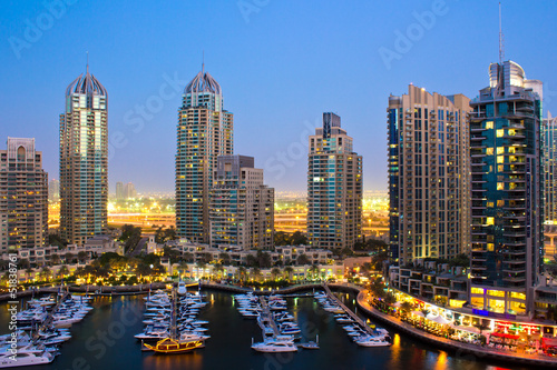 Dubai Marina by night Fototapet