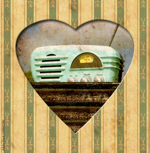 Photo sur Toile Affiche vintage Vintage Heart - Radio