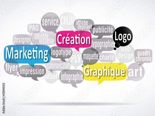 Fotografering  nuage de mots bulles : création graphique logo