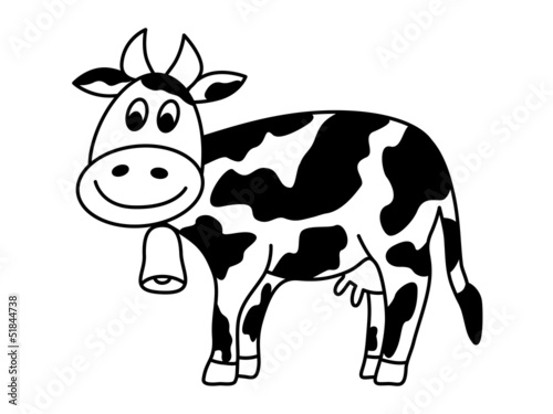 Dairy Cow With Bell Vector Illustration