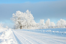 Empty Snow Covered Road In Winter