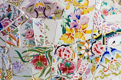 Fotografiet Gaudi mosaic work at Park Guell