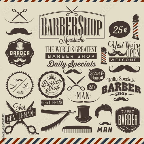 Poster Affiche vintage Collection of vintage grunge barber shop labels