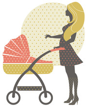 Silhouette Of Beautiful Mother With Baby Carriage In Retro Style
