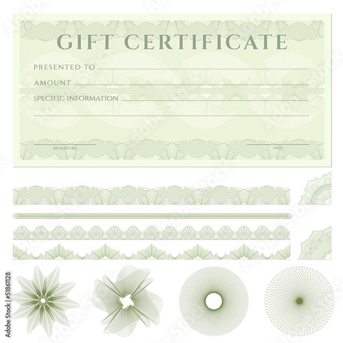Gift Certificate Voucher Template With Borders Guilloche Buy