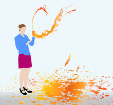 Femme Qui Boit Du Soda Orange