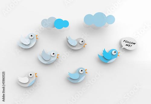 Obraz Cute twitter birds following each other. - fototapety do salonu