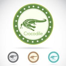 Set Of Vector Crocodile Label On White Background