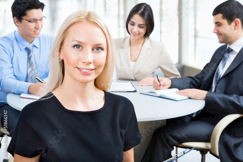 Fototapety, obrazy: Business woman with colleagues