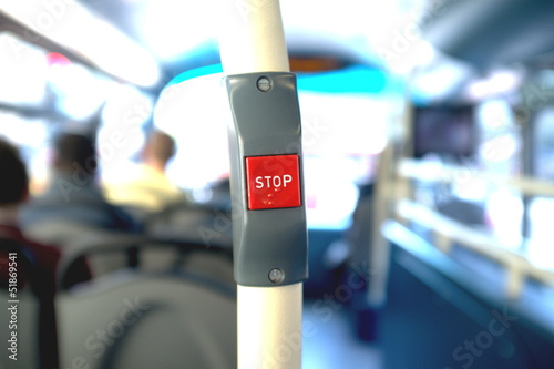 Fotografie, Tablou  Stop button in a bus