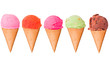 canvas print picture - Ice cream scoops on cones