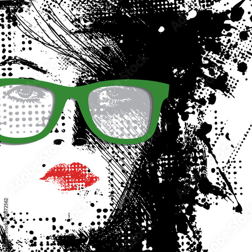 Tuinposter Vrouw gezicht Women in sunglasses