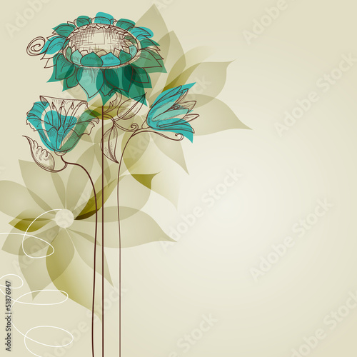 Wall Murals Abstract Floral Vector flowers