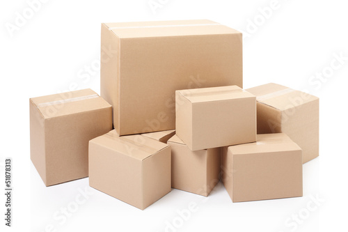 Cardboard boxes on white, clipping path Canvas Print