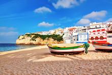 Portuguese Beach Villa In Carvoeiro Classic Fishing Boats. Summe