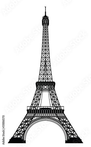 Naklejka dekoracyjna Eiffel Tower Black Silhouette Vector Illustration