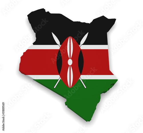 Fotografie, Obraz  Kenya Map Flag 3d Shape