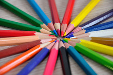 Colorful Pencils With A Focus