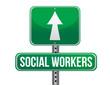 social workers road sign illustration design