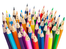 Colorful Pencils As Smiling Faces People Isolated. Social Networ
