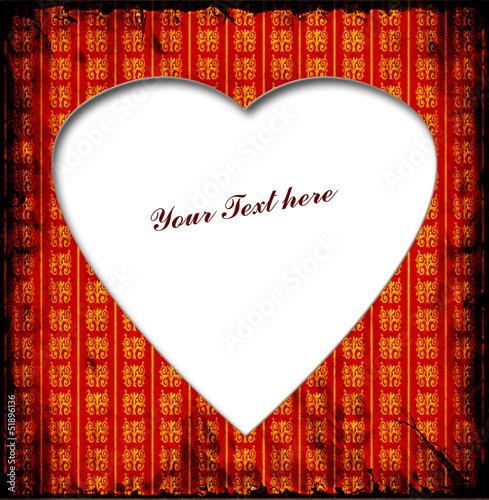 Foto op Plexiglas Vintage Poster Weisses Herz - Rotgoldene Muster