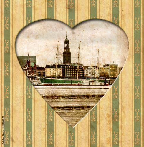 Papiers peints Affiche vintage Vintage Heart - Hamburg