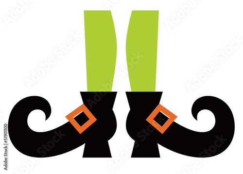 Cute Witch legs isolated on white Wallpaper Mural