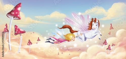 Naklejka premium dziewczyna latająca z pegazem