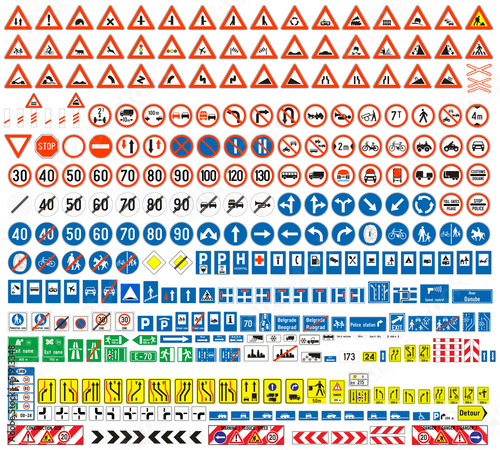 Fotografía Traffic signs colection, europen, more than 300 pcs