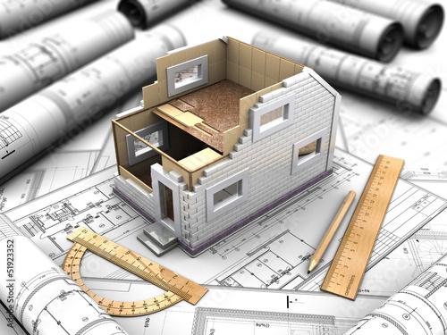 Fotomural mockup prefabricated house