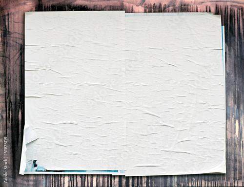 Fototapeta Old weathered blank white poster obraz