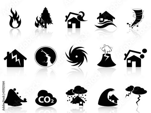 Fotografía Natural disaster icons set