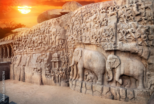 Fotografie, Obraz  Elephants rock in Mamallapuram