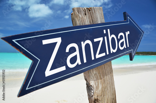 Poster Zanzibar Zanzibar sign on the beach