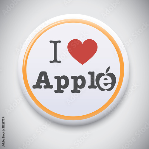 Fotografie, Obraz  I Love Apple -Vector button badge