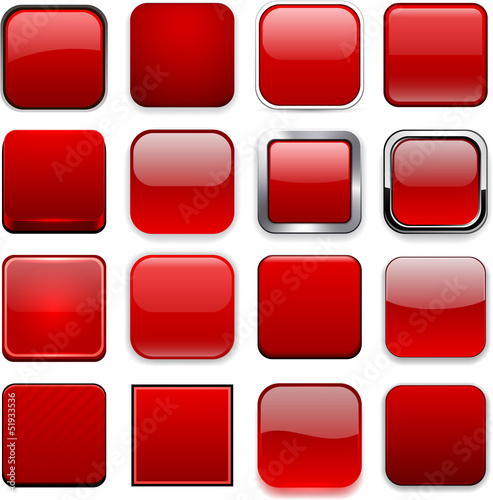 Poster  Quadratische rote App-Symbole.