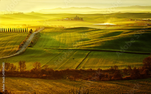 Deurstickers Toscane morning on countryside in Tuscany